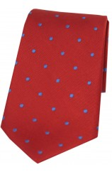 Soprano Red and Royal Polka Dot Silk Tie