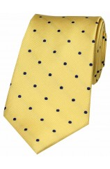 Soprano Gold and Blue Polka Dot Silk Tie