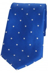 Soprano Royal Blue and White Polka Dot Silk Tie