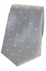 Soprano Silver and White Polka Dot Silk Tie