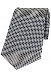 Soprano Neat Checked Silver and Grey Silk Tie