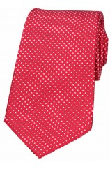 Soprano Red White Pin Dot Silk Tie