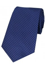 Soprano Navy Blue and Sky Pin Dot Silk Tie