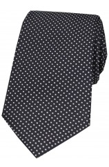 Soprano Black White Pin Dot Woven Silk Tie
