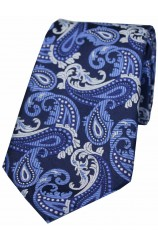 Soprano Navy Blue and Grey Paisley Silk Tie