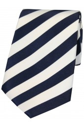 Soprano Navy and White Satin Striped Silk Tie