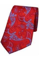 Soprano Red and Sky Paisley Silk Tie