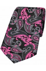 Soprano Fuchsia Black and Grey Paisley Silk Tie