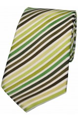 Soprano Shades Of Green Stripes Silk Tie