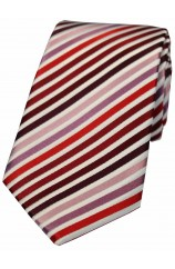 Soprano Shades of Red Pink Lilac Wine Stripes Silk Tie