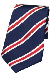 Soprano Royal Blue With Red White Stripes Silk Tie