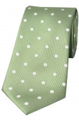 Soprano Lime Green and Cream Polka Dot Silk Tie