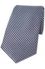 Soprano Navy and White Dogtooth Silk Tie