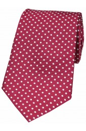 Soprano Wine and White Pin Dot Woven Silk Tie