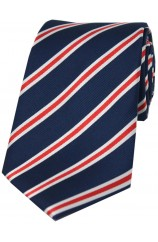 Soprano Navy Red and White Striped Silk Tie