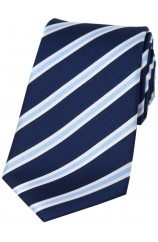 Soprano Navy Sky and White Striped Silk Tie