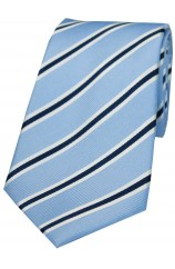 Soprano Sky Navy and White Striped Silk Tie