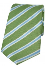 Soprano Lime Green Sky and Silver Striped Silk Tie