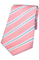 Soprano Pink White and Sky Blue Striped Silk Tie