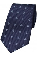 Soprano Navy And Blue Ships Anchor And Wheel Silk Tie