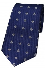 Soprano Navy Ships Anchor And Wheel Silk Tie