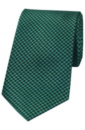 Soprano Emerald Green and Navy Dogtooth Silk Tie