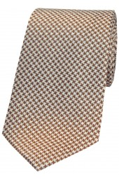 Soprano Camel and Cream Dogtooth Silk Tie