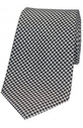 Soprano Black and White Dogtooth Silk Tie