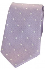 Soprano Lilac and White Polka Dot Silk Tie