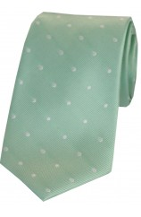 Soprano Mint and White Polka Dot Silk Tie