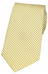 Soprano Lemon Yellow and Black Pin Dot Silk Tie