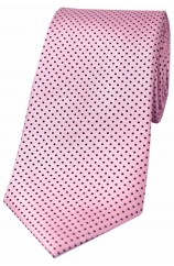 Soprano Pink and Black Pin Dot Woven Silk Tie