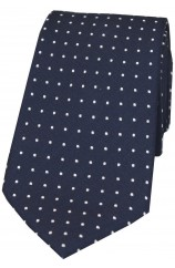 Soprano Navy and White Pin Dot Woven Silk Tie