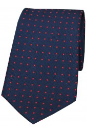 Soprano Navy and Red Pin Dot Woven Silk Tie