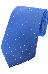 Soprano Denim Blue and White Pin Dot Silk Tie