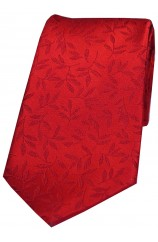 Soprano Red Jacquard Leaf Design Luxury Silk Tie