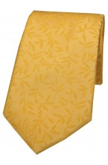 Soprano Gold With Jacquard Leaf Design Silk Tie