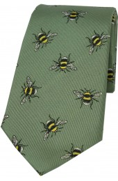 Sage Green Bumble Bee Luxury Silk Tie