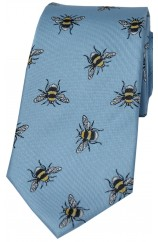 Pastel Blue Bumble Bee Luxury Silk Tie
