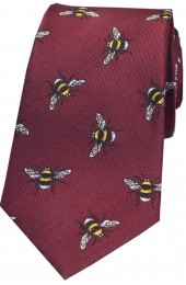 Soprano Wine Bumble Bee Luxury Silk Tie