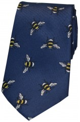 Soprano Navy Bumble Bee Luxury Silk Tie