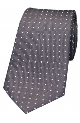 Soprano Grey and White Pin Dot Silk Tie