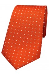 Soprano Orange and White Pin Dot Silk Tie