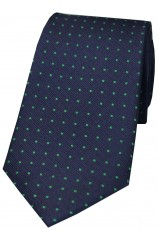 Soprano Navy With Green Pin Dots Silk Tie