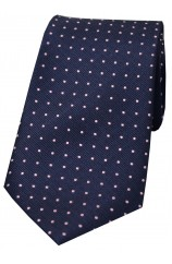 Soprano Navy With Pink Pin Dots Silk Tie