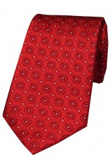 Soprano Red Circular Chain Design Silk Tie