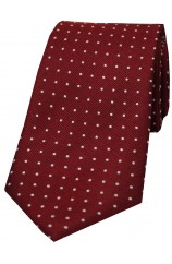 Soprano Wine With White Pin Dot Silk Tie