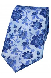 Soprano Sky Blue Floral Patterned Silk Tie