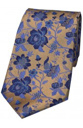 Soprano Bronze Floral Patterned Silk Tie