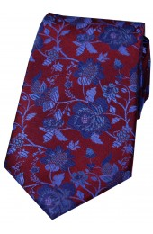 Soprano Wine And Blue Floral Patterned Silk Tie